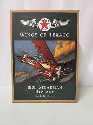 PRE OWNED in Box 1931 Stearman Biplane Die-cast Metal Model Airplane/Bank (450)