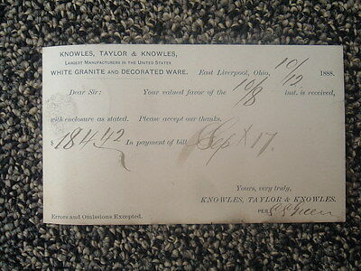 1888 Knowles,Taylor White Granite Ware MFG.,Co.,signed Card/E.Liverpool,Ohio