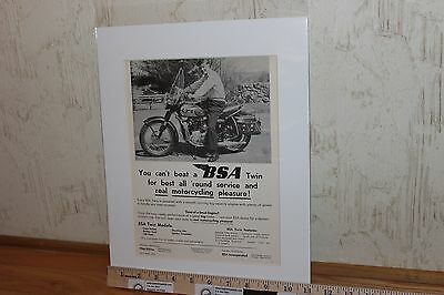 "1959 BSA ""Real Motorcycling Pleasure"" 11 x 14 Matted Vintage Ad Art #5909amot01m"