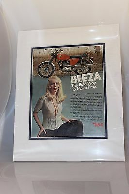 1969 Vintage BSA Starfire Motorcycle Beeza Girl - 11x14 Matted Ad Art #de69fa0m
