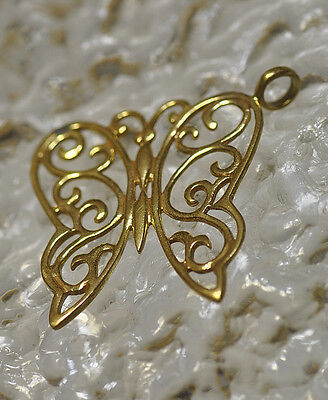 LOOK Large Elegant Fancy Butterfly Gold plated Sterling Silver jewelry charm pen