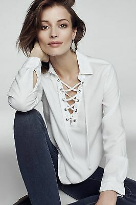 5b9aa854 CLOTH & STONE Women's White Lace-Up Henley Long Sleeve Blouse size ...