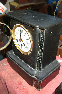 Marble Clock Time  Piece  Only  Working  Key And Pendulum