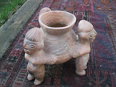 Antique Terracotta Columbian  Mexico Pot Three Man Holding A Pot