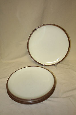 "Lot Of 4 Denby Cappuccino 10 3/8"" Dinner Plates 6532"