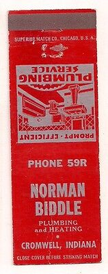 Norman Biddle Plumbing & Heating Cromwell IN Noble County Matchcover 062217