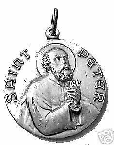 LOOK Sterling Silver 925 St. Saint Peter Pendant Charm Medal