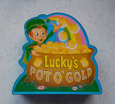 Vtg LUCKY'S POT O GOLD Plastic Coin BANK Musical WORKS Lucky Charms Cereal Promo