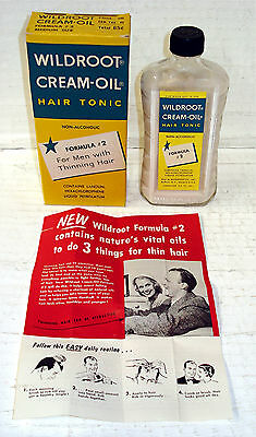 Vintage Wildroot Cream Oil Hair Tonic - 3.5 Oz - In Original Box - Unused