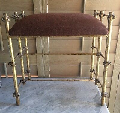 Vintage Hollywood Regency Hall Vanity Bench Gilt Metal Townhouse Originals