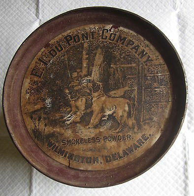 Large Dupont Shotgun Smokeless Gun Powder Tin Bird Dogs Keg Barrel 7.25 by 6.25