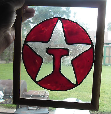 VINTAGE RARE TEXACO Framed Stained Glass Wall Hanging 11\
