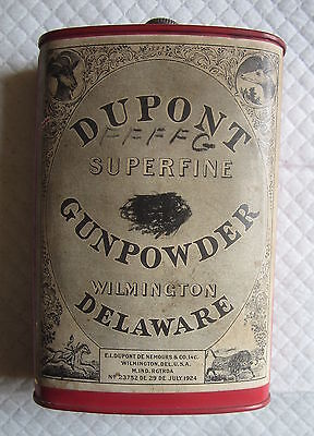 Antique 1924 Dupont Rifle Super Fine Gun Powder Tin Stag Buffalo Paper Label