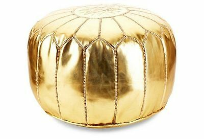 Luxury New Moroccan Gold Ottoman Pouffe Pouf Footstool - Metalic Gold