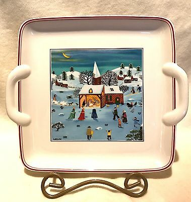 """Villeroy & Boch Naif Christmas 9"""" Square Handle Cake Plate By Laplau"""