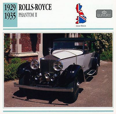 1929-1935 ROLLS-ROYCE PHANTOM II collector card.