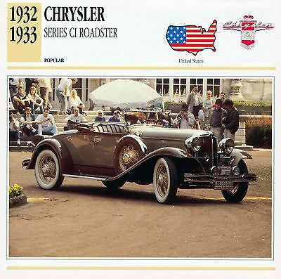 1932-1933 CHRYSLER SERIES CI ROADSTER collector card.