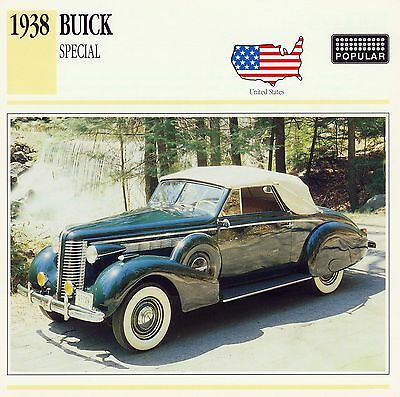 1938 BUICK SPECIAL CONVERTIBLE COUPE collector card.