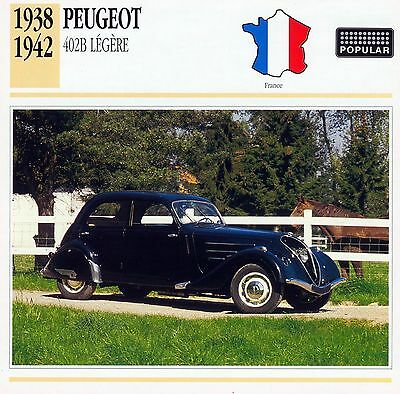 1938-1942 PEUGEOT 402B LEGERE collector card.