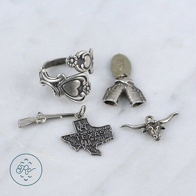 Sterling Silver | (QTY 5) Assorted Texas Souvenir Charm Spoon Ring 11.2g | Lot