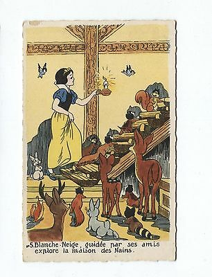 Snow White Postcard 1940's France Animals Exploring Dwarf House French Caption