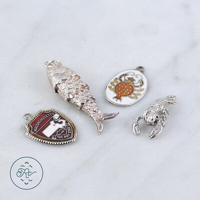 Sterling Silver | (QTY 4) Assorted Sea Animal Fish Charm Pendant 9.7g | Lot