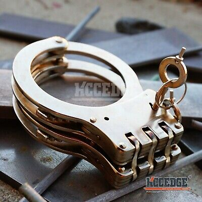 Special Force Double Lock Hinge Handcuffs SILVER METAL TACTICAL CUFFS w/Keys EDC