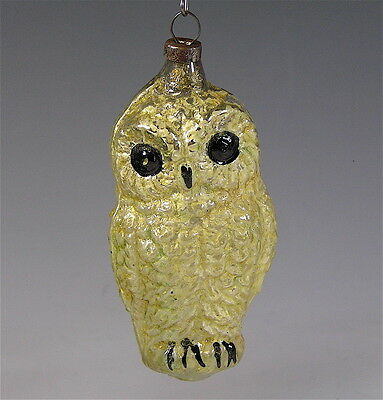 Antique Christmas Glass Owl Figural Ornament  1920's