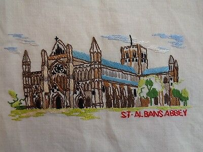 "St. Albans Abbey Hand Embroidered Crochet Lace Edge New Table Linen 20"" X 14"""
