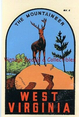 "Vintage West Virginia ""the Mountaineer"" State Souvenir Travel Decal Original Art"