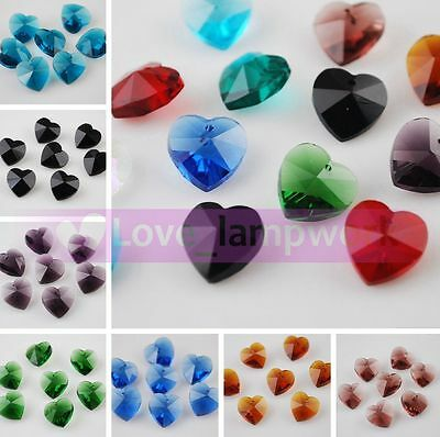 Wholesale 30pcs Heart Faceted Crystal Glass Loose Beads Jewelry Making 10X5mm
