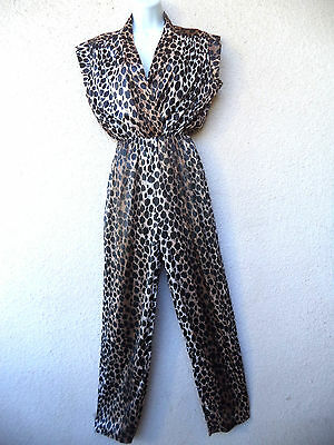 VTG 1970s JUMPSUIT Disco Party Lounge Gown Plunging Animal LEOPARD Print