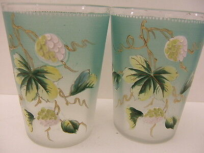 2 Antique Hand Painted Glasses Tumblers w/ Gold Accents