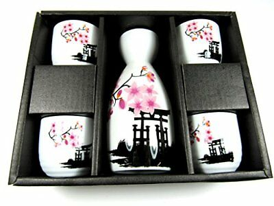 OliaDesign 5 Piece Ceramic White and Red Blossom Japanese Sake Set, White New