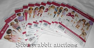 NEW HUGE Set of Simplicity AMERICAN GIRL DOLL Sewing Patterns 12 in all 18""