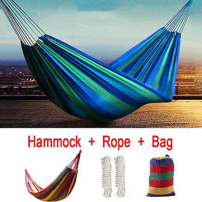 Double Outdoor Hammock Swing Bed Portable Parachute Nylon Fabric Travel Camping