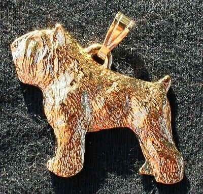 Bouvier des Flandres Dog 24K Gold Plated Pewter Pendant Jewelry USA Made