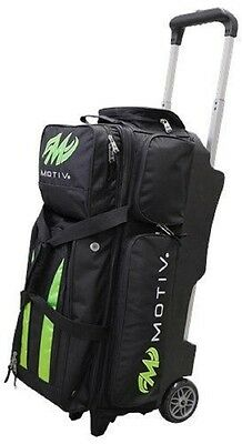 Motiv 3 Ball Deluxe Roller Bowling Bag with Urethane Wheels Black/Green