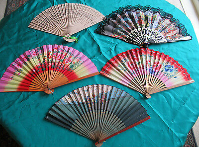 Lot of 5 hand-held FOLDING FANS various materials, some Asian, 1 Spanish
