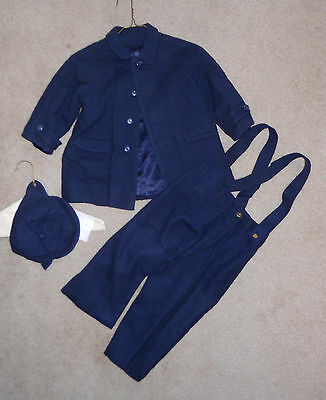 vintage 1950s navy blue wool school boy's coat leggings and cap see measurements
