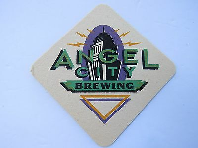 BEER Coaster ~*~ ANGEL CITY Brewing Co ~ Los Angeles, CALIFORNIA ~*~ Opened 1997