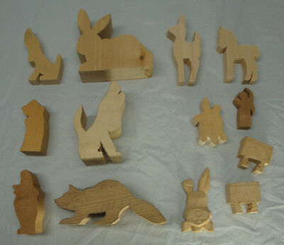 Lot Of 13 Wood Carving Blanks Cut Outs Animals Started Not Finished