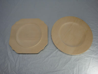 Lot Of 2 Wood Carving Blanks Plates Started Not Finished