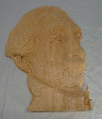 Large Wood Carving Blank Albert Einsteins Head Started Not Finished