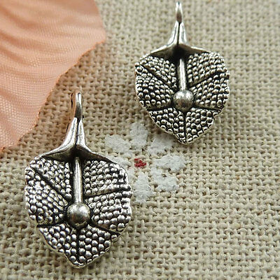 Free Ship 160 pieces tibetan silver leaves charms 21x12mm #406