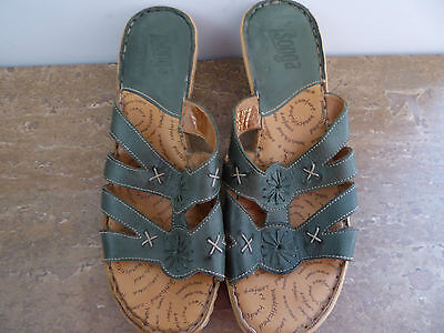 Tsonga Women's Sandals/Shoes, Size 39(8), Leather, Green, Excellent Condition