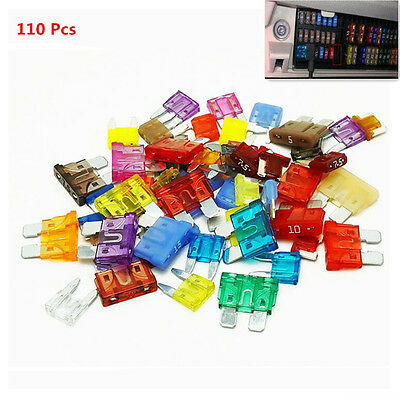 110pc Mixed Car Off-Road Motorcycles Mini Low Profile Blade Fuse 2-35Amp BOX Kit