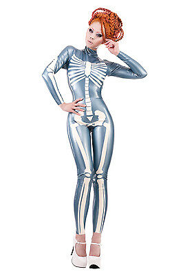 R1536 Latex Rubber COUTURE SKELETON CATSUIT *Shown* 12 UK RRP £523.25