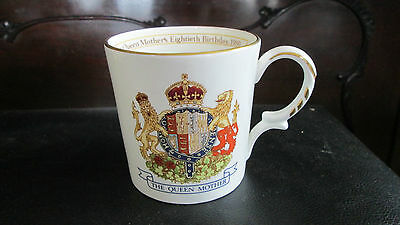 Vintage Aynsley Queen Mother 80Th Birthday 1980 Mug