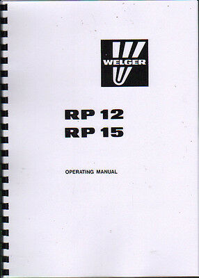 Welger RP 12 & RP 15 Round Baler Operator Instruction Manual Book